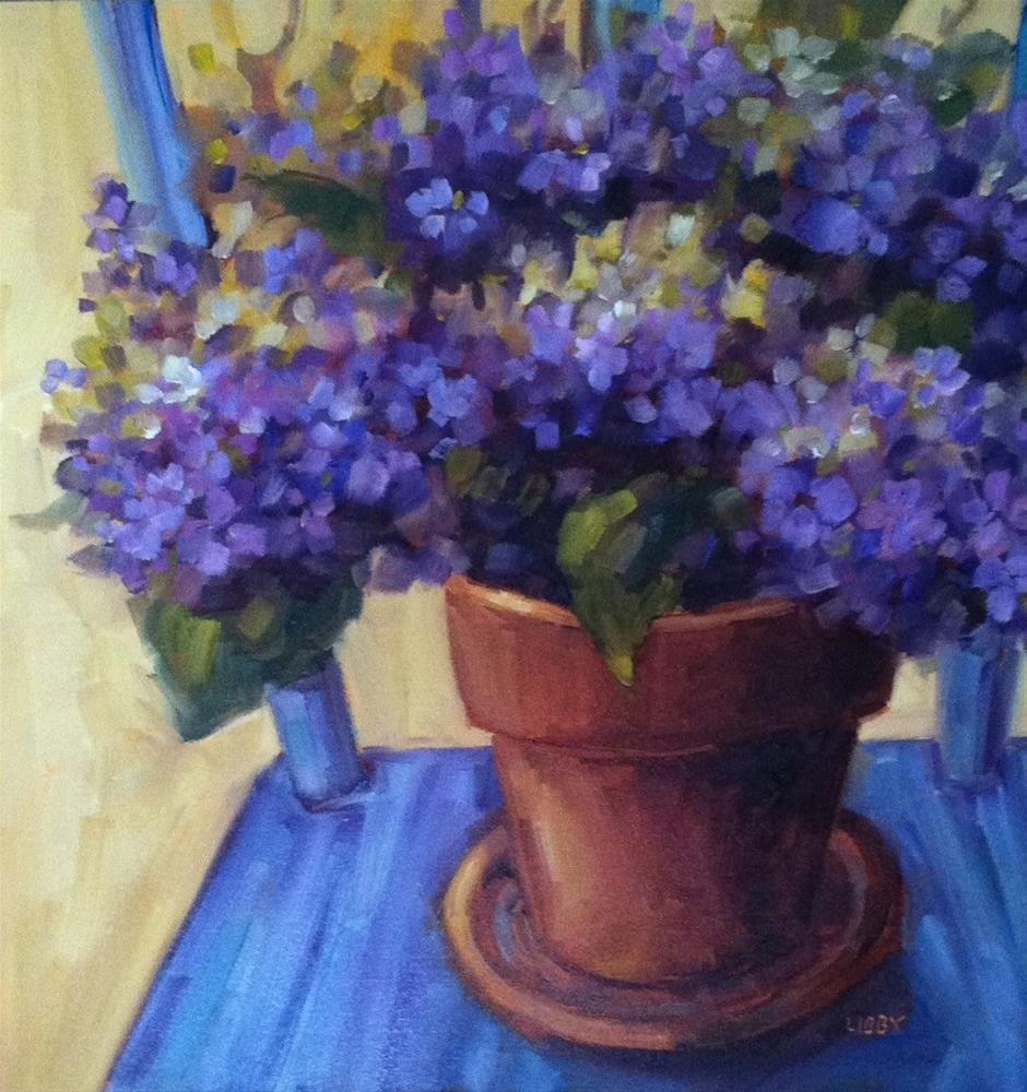 """Chair Hydrangeas"" original fine art by Libby Anderson"