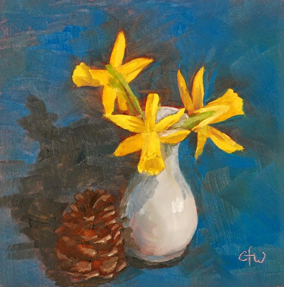 """Daffodils And Cone"" original fine art by Gary Westlake"