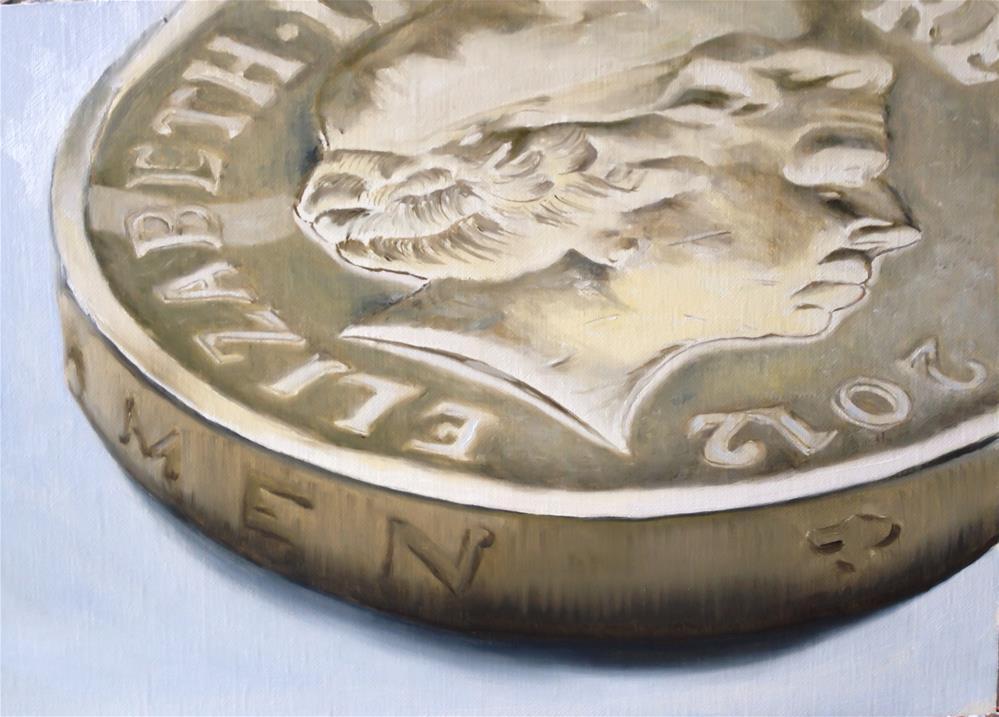 """One Pound Coin"" original fine art by James Coates"