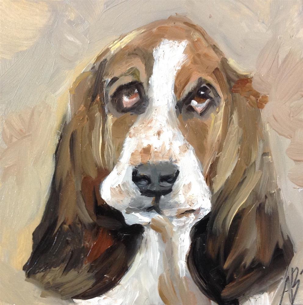 """Bassett portrait"" original fine art by Annette Balesteri"
