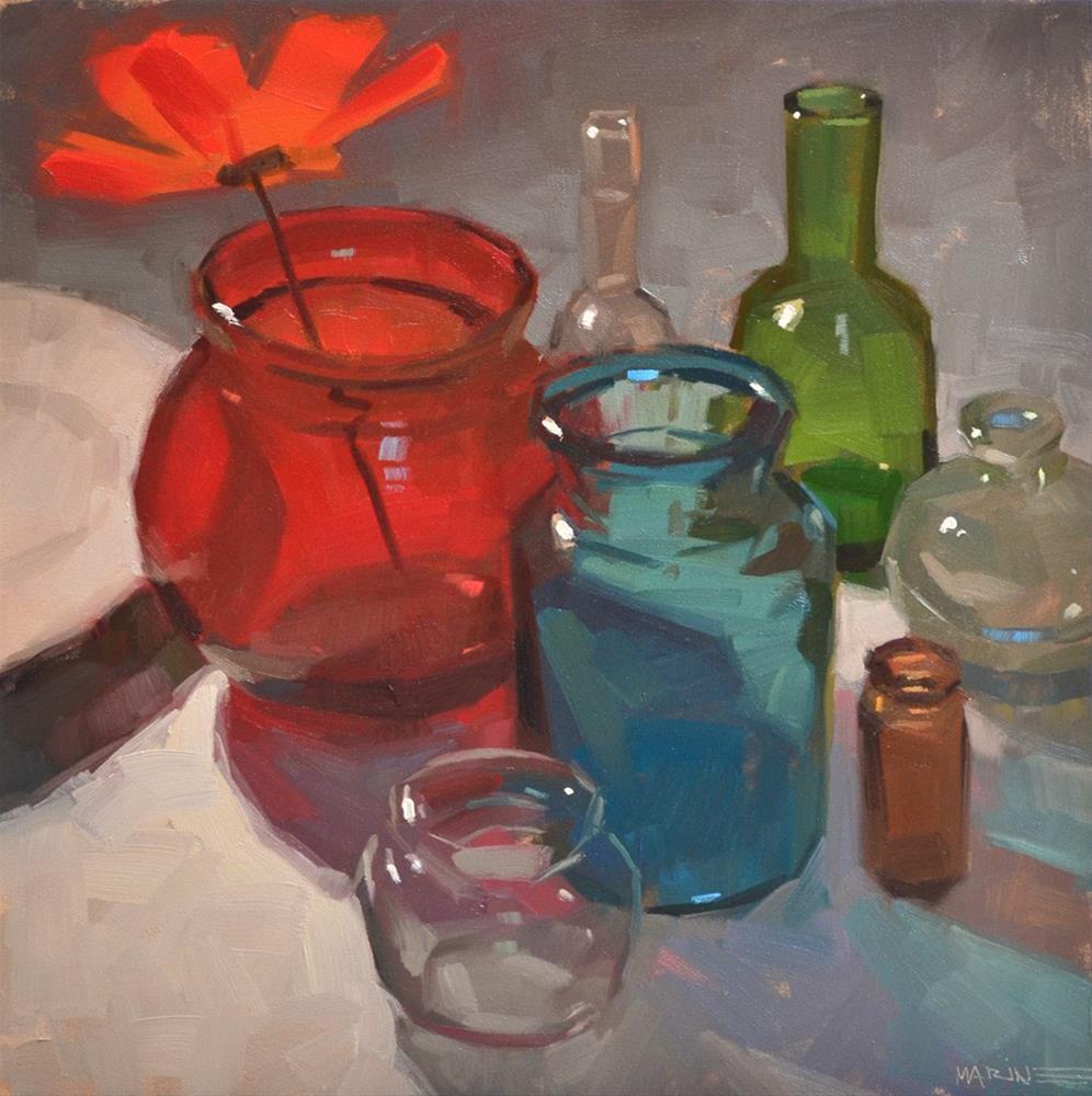 """""""Back Me Up, Bottles"""" original fine art by Carol Marine"""
