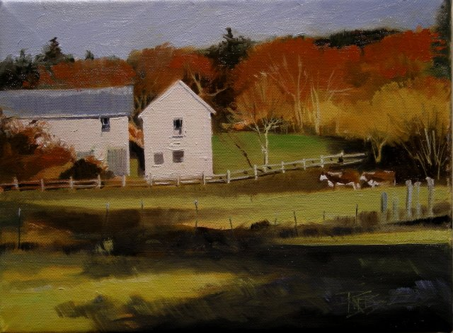 """""""Two Cow Farm  landscape oil paiting"""" original fine art by Robin Weiss"""