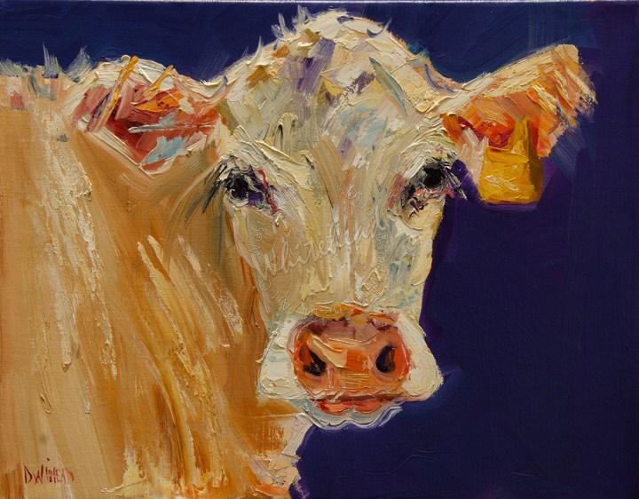 """Artoutwest Diane Whitehead Cream cow animal art oil painting"" original fine art by Diane Whitehead"