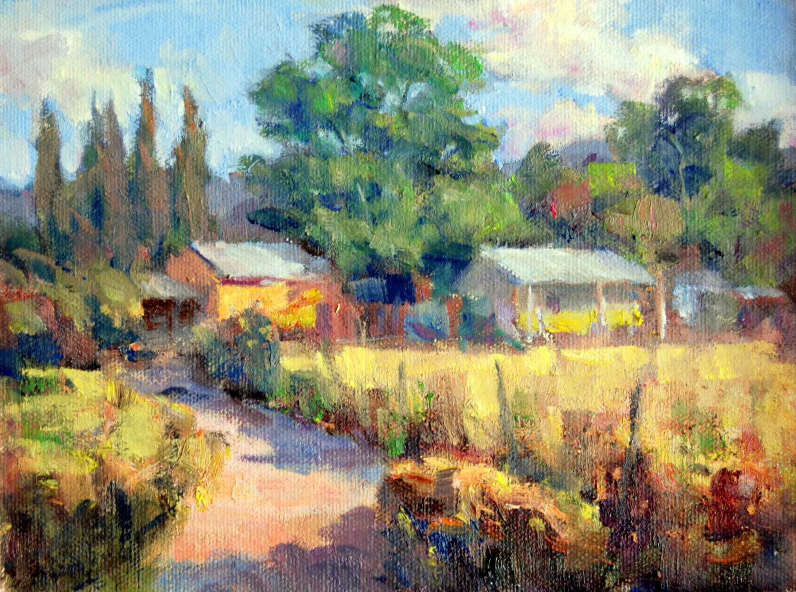 """""""Farmhouse near Green Valley"""" original fine art by Julie Ford Oliver"""