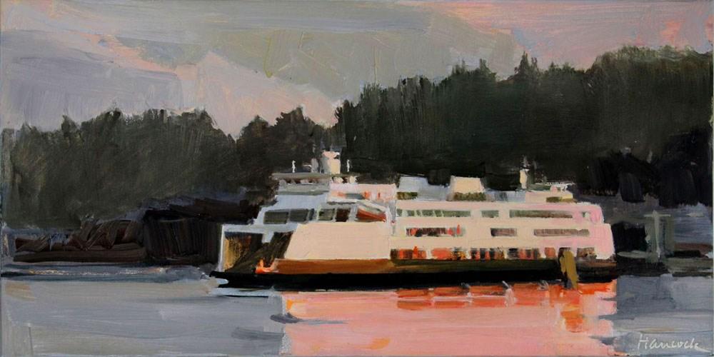 """Pink Ferry at Vashon"" original fine art by Gretchen Hancock"