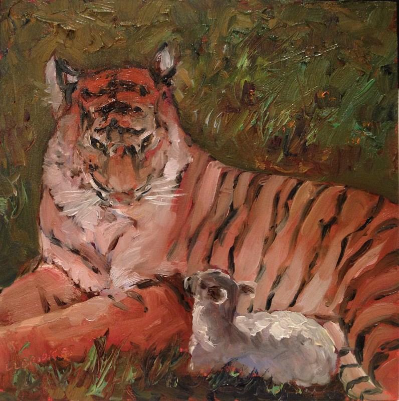"""Tyger, Tyger/Little Lamb, Day 87"" original fine art by Claudia L Brookes"