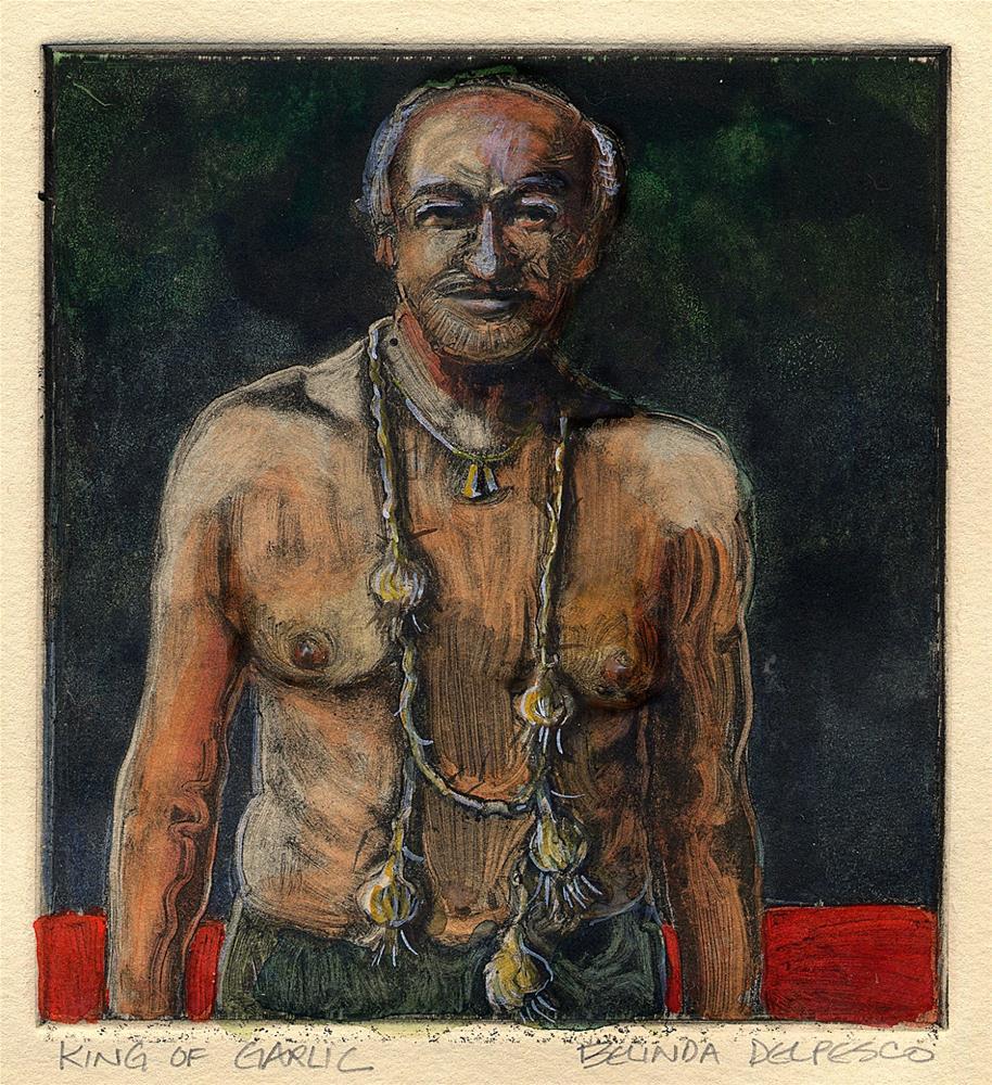 """Monotype #Printmaking: King of Garlic"" original fine art by Belinda Del Pesco"