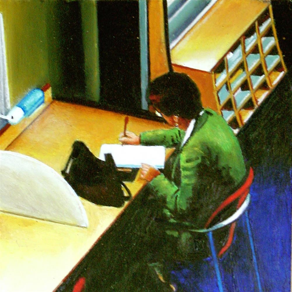 """""""Notes- Woman Taking Notes In Library"""" original fine art by Gerard Boersma"""