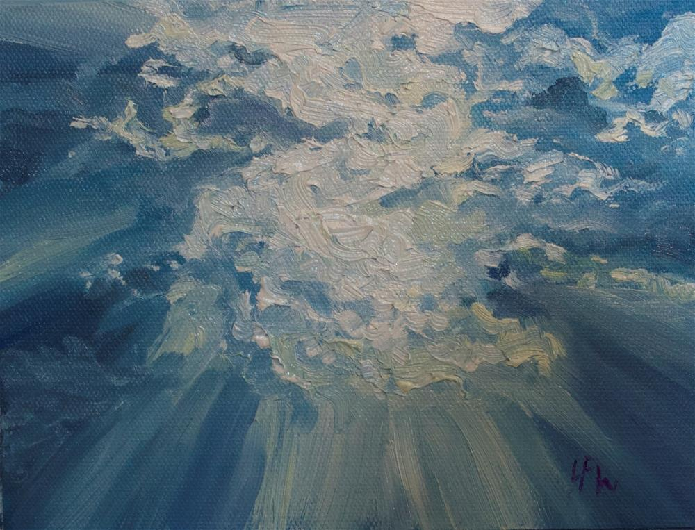 """Sun through the clouds"" original fine art by H.F. Wallen"