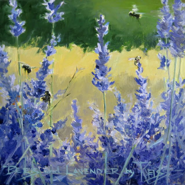 """""""Bees on Lavender  daily painting"""" original fine art by Robin Weiss"""