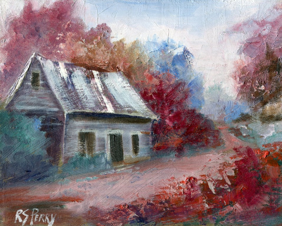 """Ozark Cabin in early fall "" original fine art by R. S. Perry"