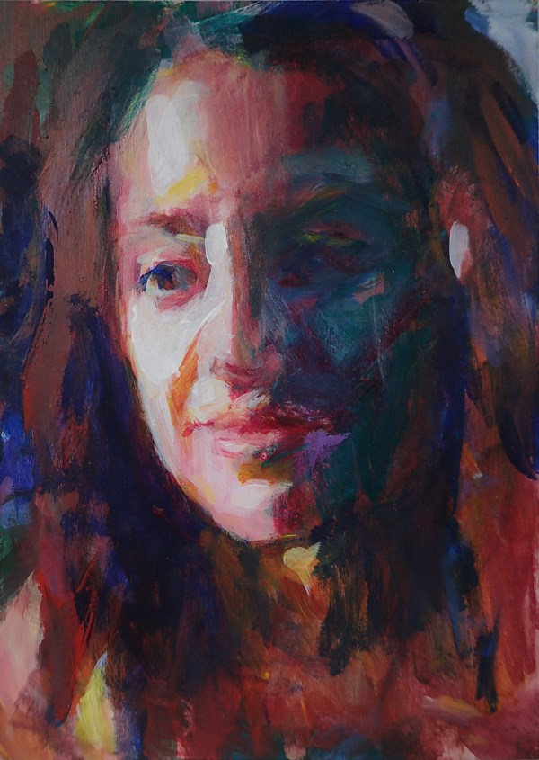 """Portrait Study in Colors"" original fine art by Sharon Savitz"