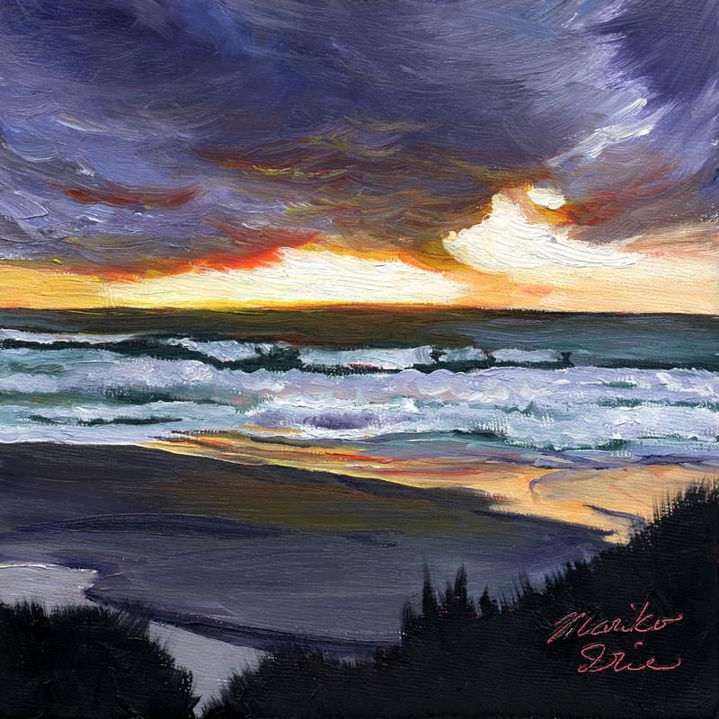 """""""Orange Sunset"""" original fine art by Mariko Irie"""