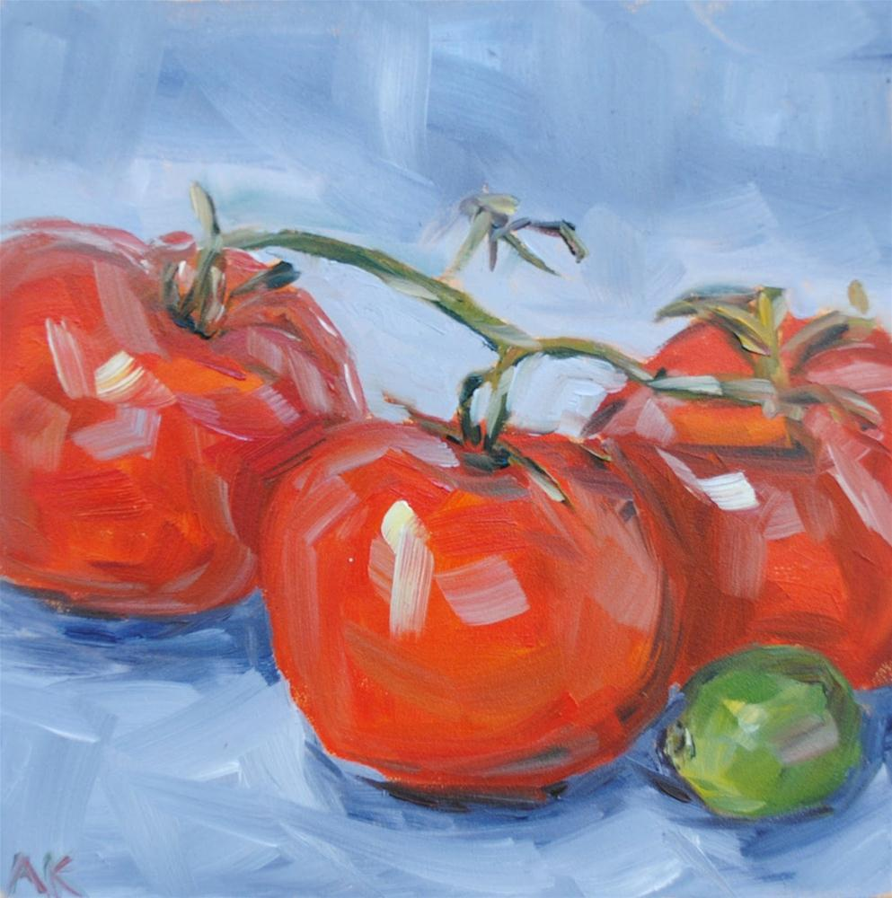 """""""Tomatoes and Lime"""" original fine art by Alison Kolkebeck"""