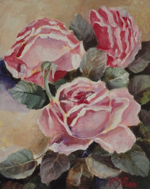 """Three Pink Roses"" original fine art by R. S. Perry"