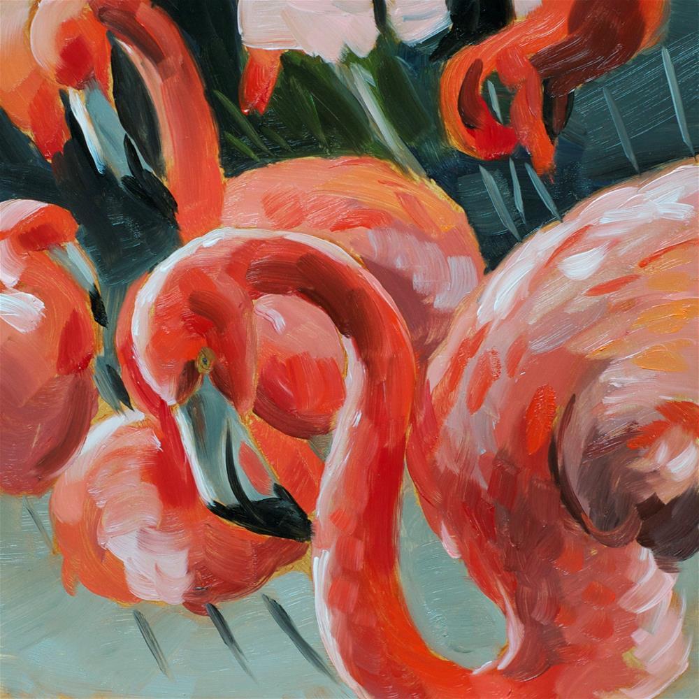 """Flamingos"" original fine art by Heather Bullach"
