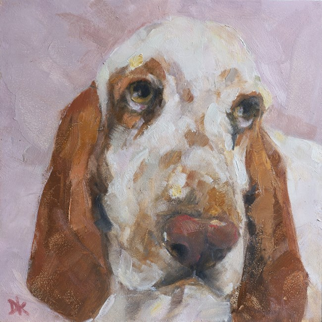 """Dog Days of Summer - Shirley Basset Dog portrait by Deb Kirkeeide"" original fine art by Deb Kirkeeide"