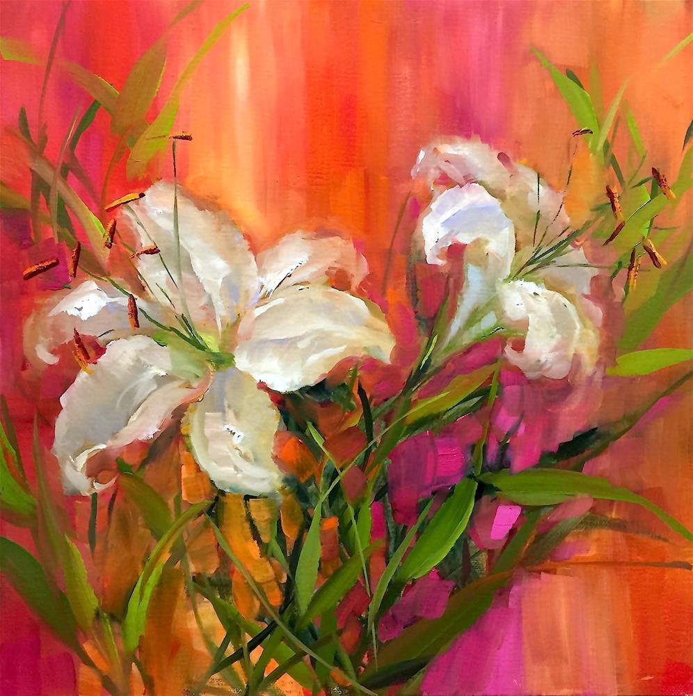 """Dreamsicle White Lilies and Italy 2016 - Nancy Medina Art"" original fine art by Nancy Medina"