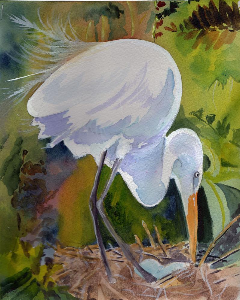 """Nesting Egret"" original fine art by Bunny Griffeth"