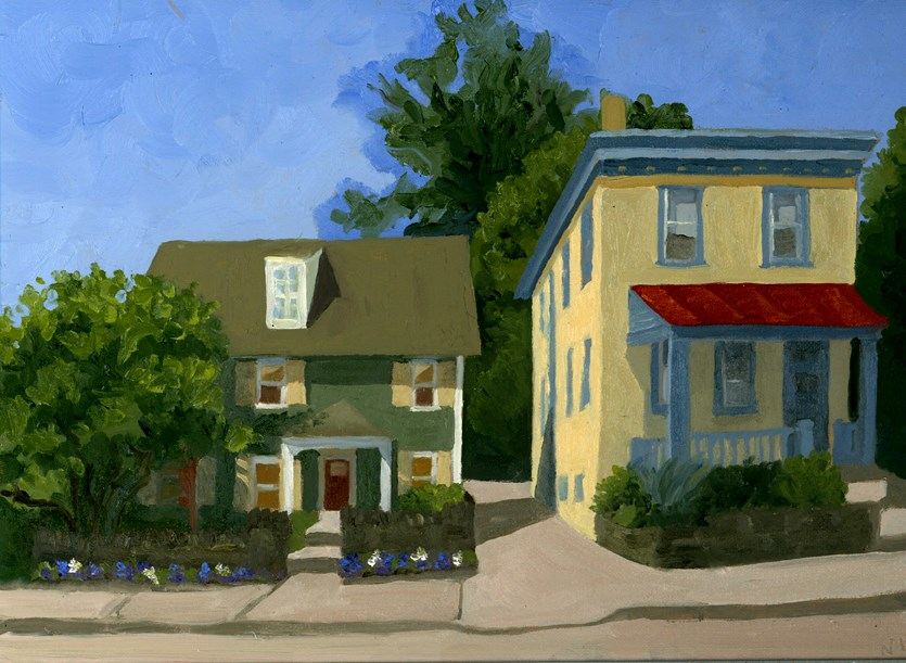 """""""Two Houses On The Hill"""" original fine art by Nancy Herman"""