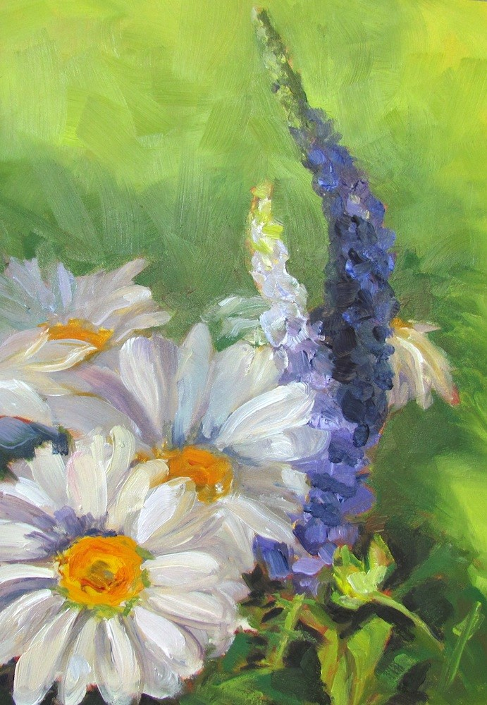 """""""Daisies and Veronica on Green"""" original fine art by Lynne Schulte"""