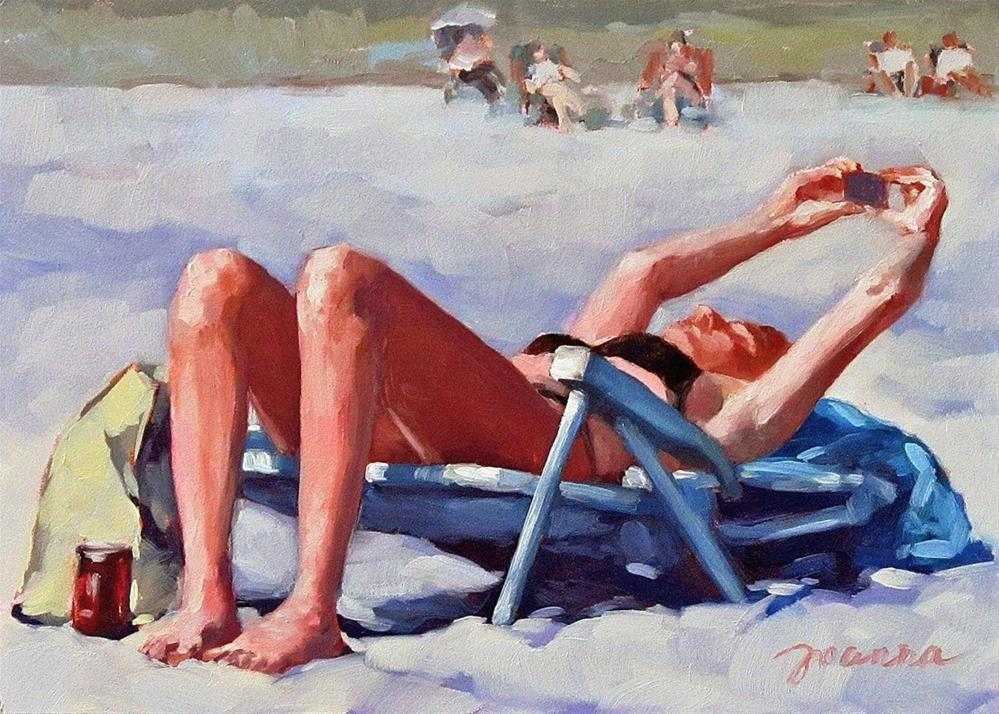 """Update--Painting of Beach Selfies"" original fine art by Joanna Bingham"