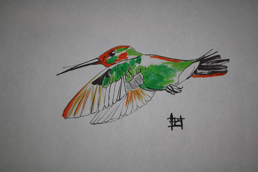 """Hummingbird in flight"" original fine art by Arron McGuire"