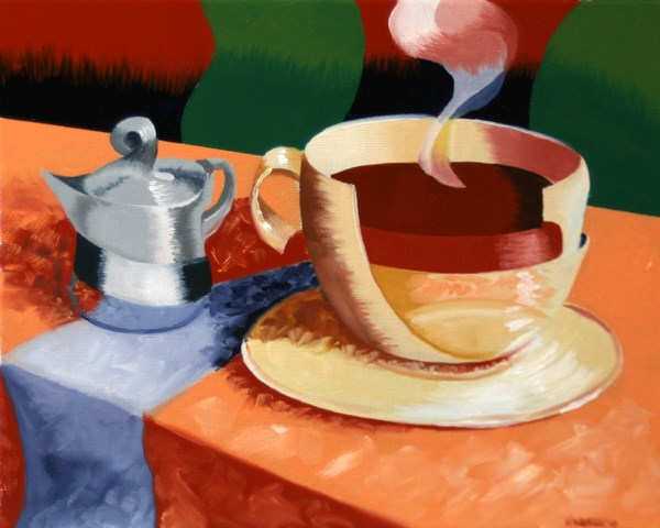 """""""Mark Webster - Abstract Rough Futurism Coffee Cup Still Life Oil Painting"""" original fine art by Mark Webster"""