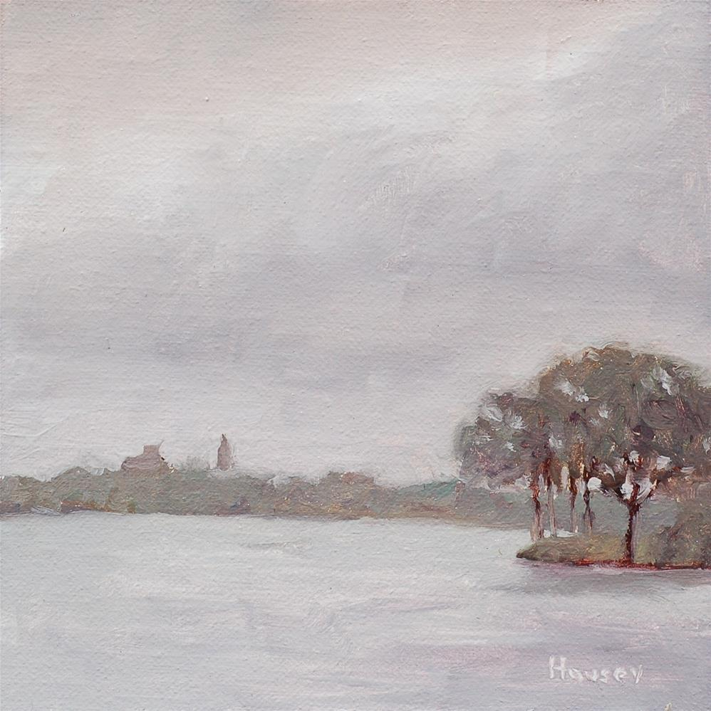 """""""Storm Over College Lake"""" original fine art by Bruce Housey"""