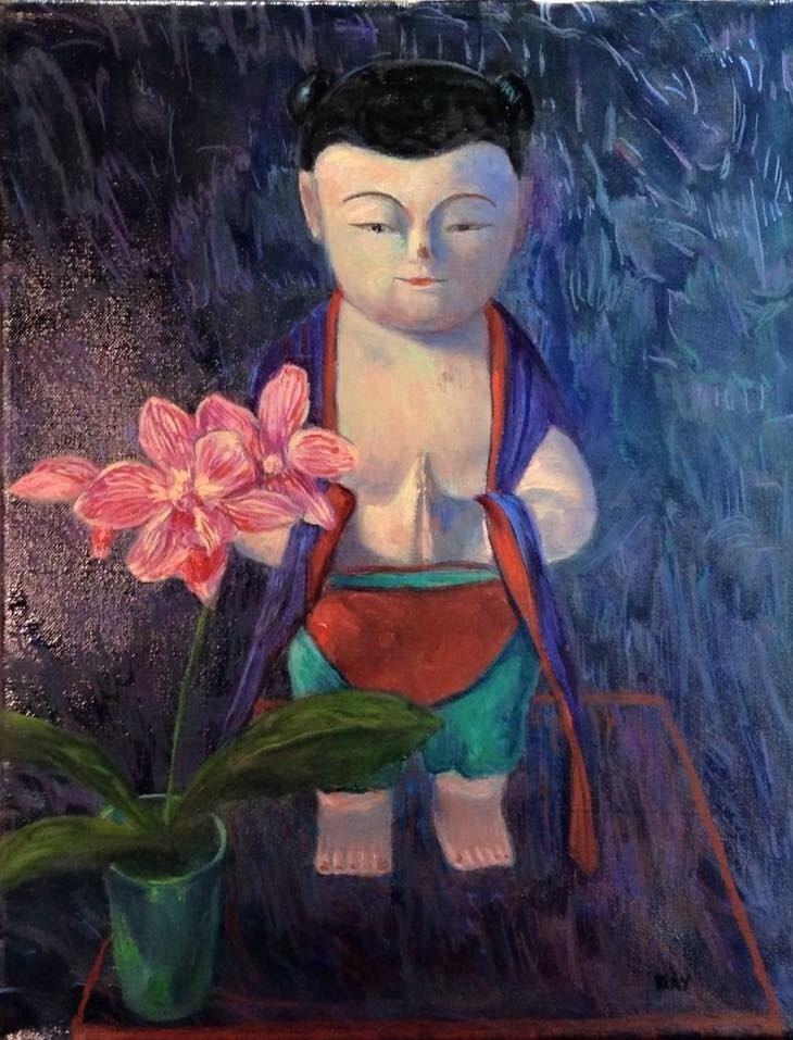 """""""BUDDHA BOY WITH ORCHID"""" original fine art by barbara yongue"""