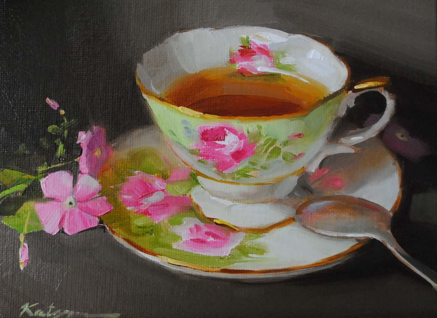 """A Cup of Tea"" original fine art by Elena Katsyura"