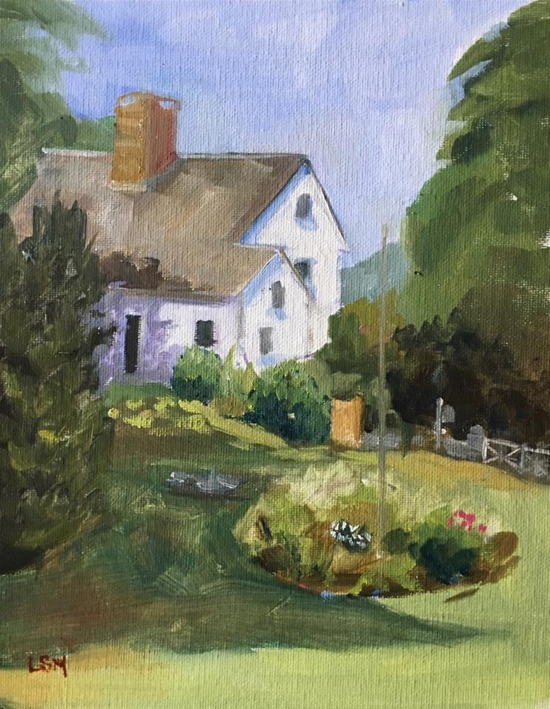 """""""Backyard View of Thomas Griswold House, Guilford, CT"""" original fine art by Linda Marino"""