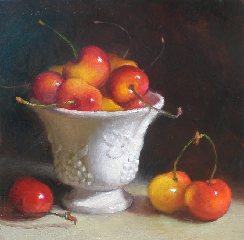 """Golden Rainier Cherries"" original fine art by Debra Becks Cooper"