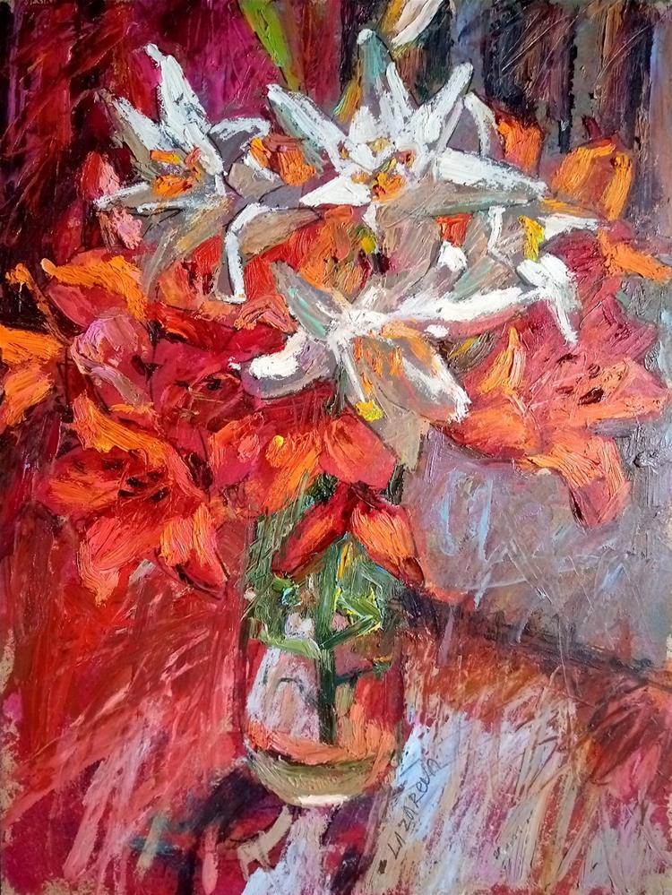 """Lily bouquet"" original fine art by Valerie Lazareva"
