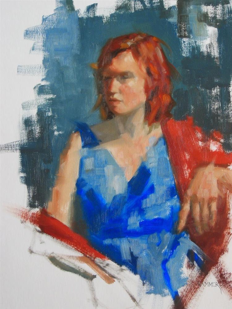 """Blue dress  11 x 14  oil"" original fine art by Claudia Hammer"