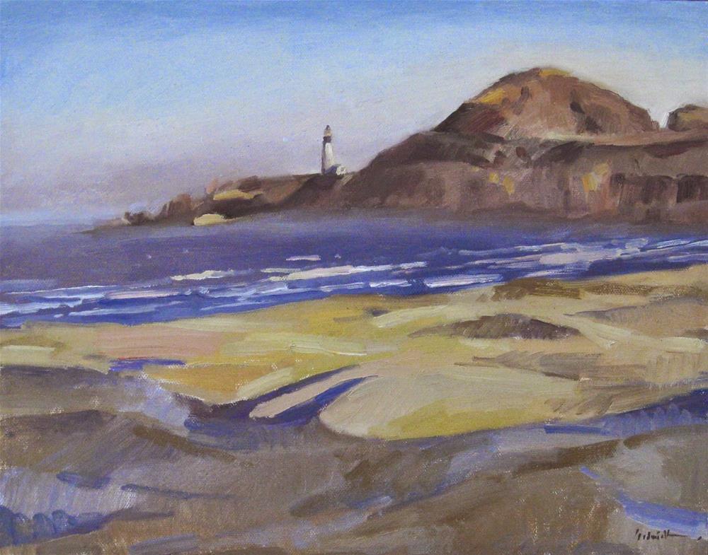 """Yaqina Head Lighthouse, From Agate Beach"" original fine art by Sarah Sedwick"