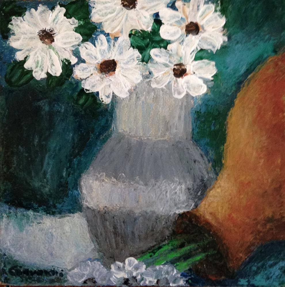 """Flowers in gray vase"" original fine art by Giovanni Antunez"
