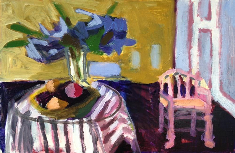 """""""Delphiniums and Pink Chair"""" original fine art by Pamela Hoffmeister"""