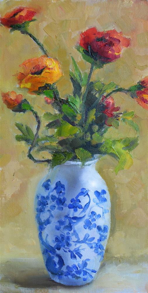 """""""Poppies in my Favorite Vase"""" original fine art by Martha Lever"""