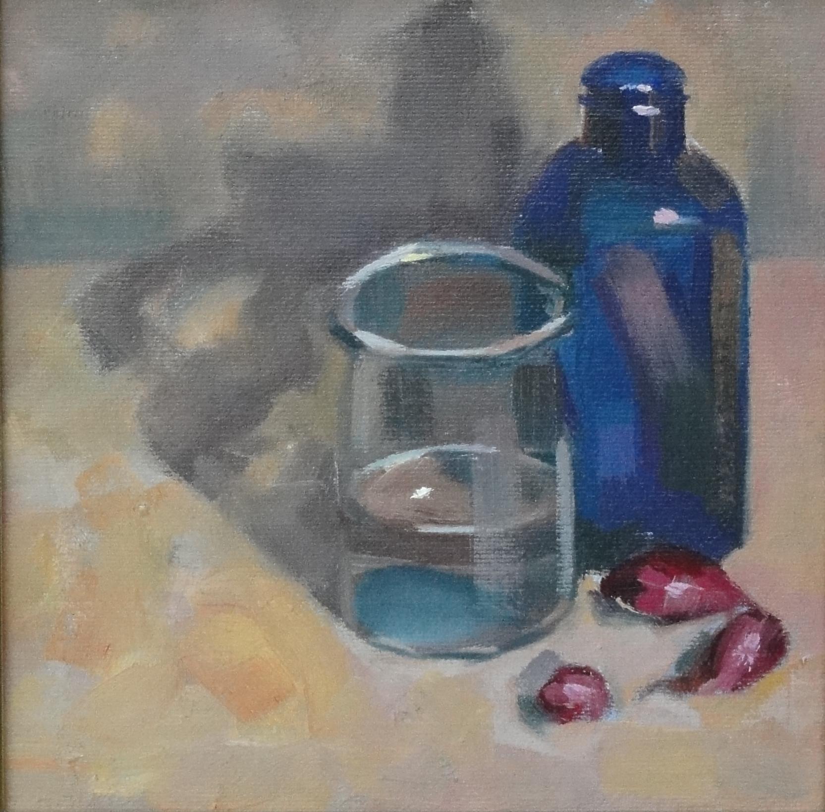 """Blue Bottle"" original fine art by Ann Feldman"