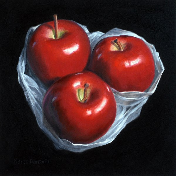 """Apples in Plastic III"" original fine art by Nance Danforth"