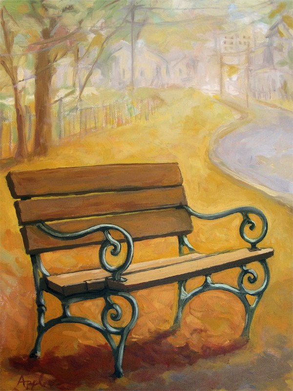 """Fall Empty Bench - fall landscape"" original fine art by Linda Apple"