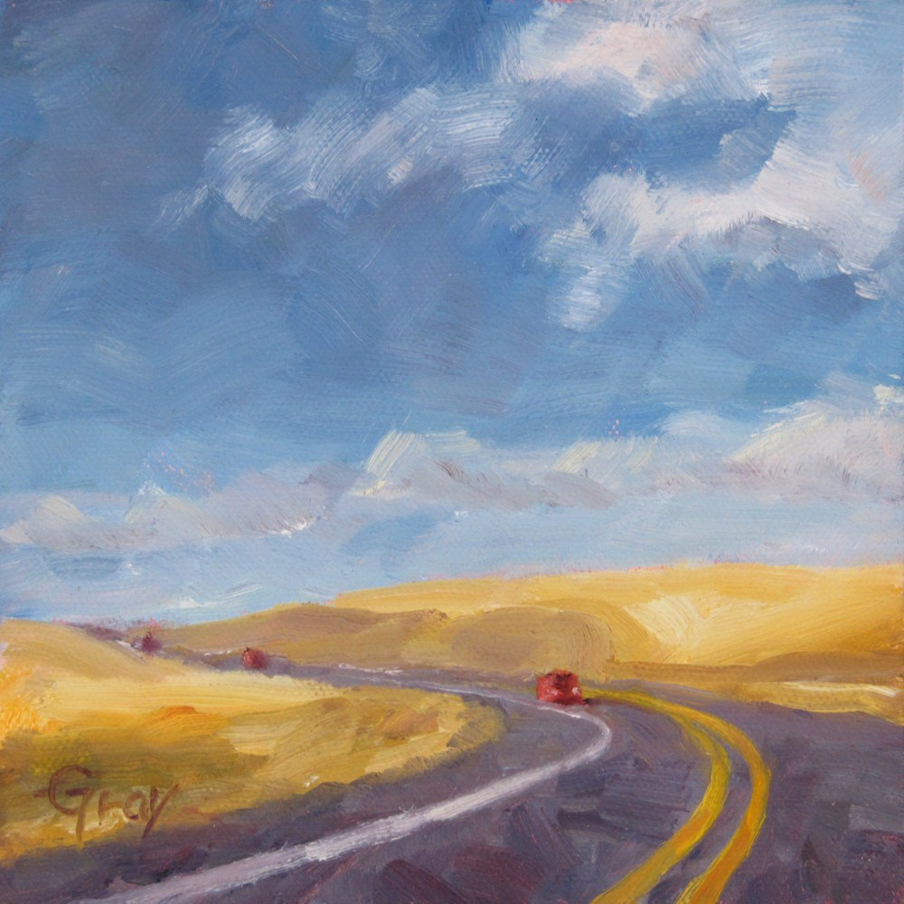 """Driving through Wheatland"" original fine art by Naomi Gray"