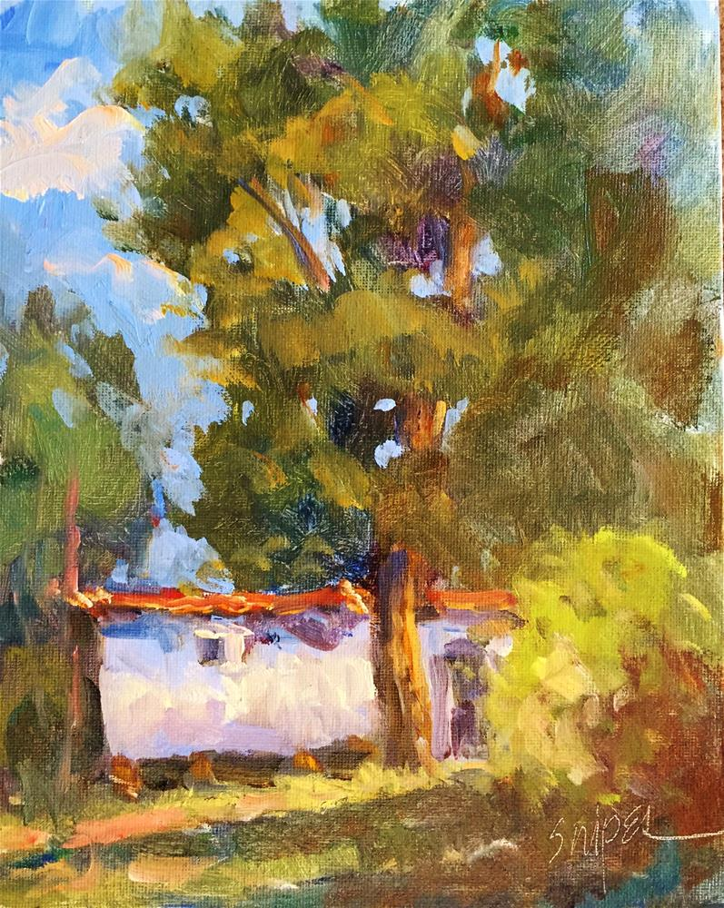 """""""Under the Shade Trees"""" original fine art by Connie Snipes"""