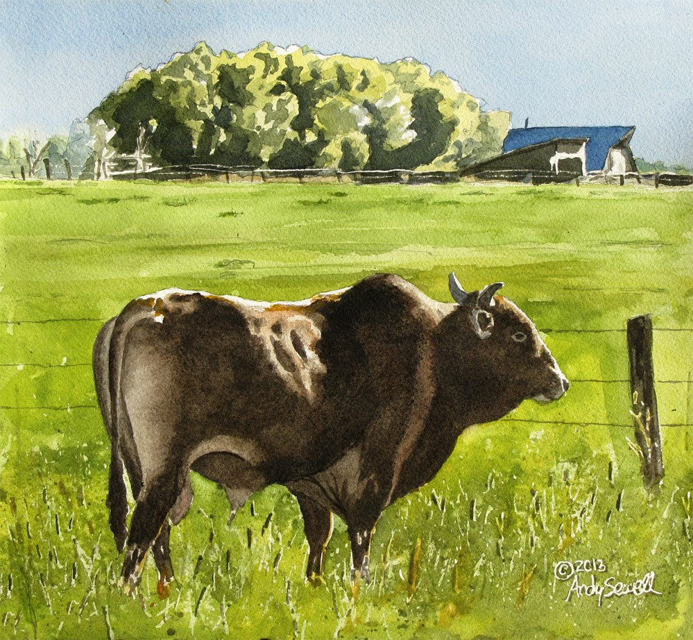 """Serious Pasture Ornament"" original fine art by Andy Sewell"