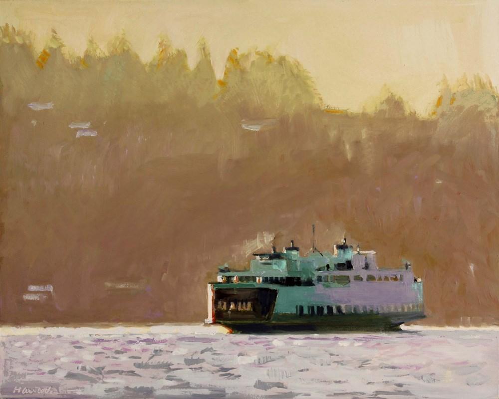 """Gold Ferry"" original fine art by Gretchen Hancock"