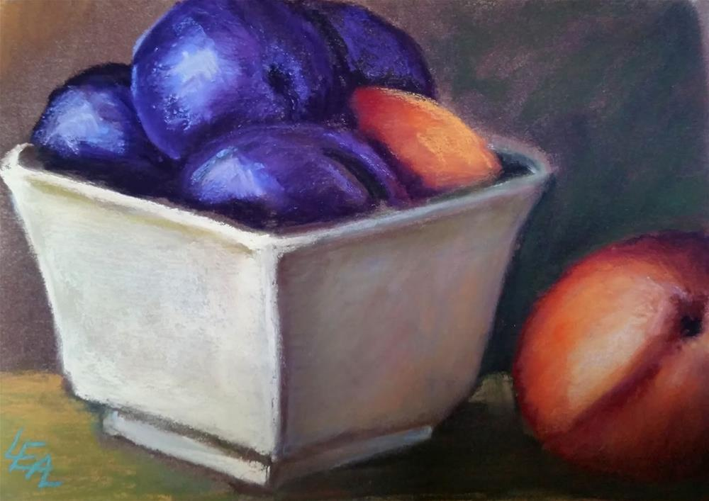 """""""Two Peaches and Plums"""" original fine art by Anna Lisa Leal"""