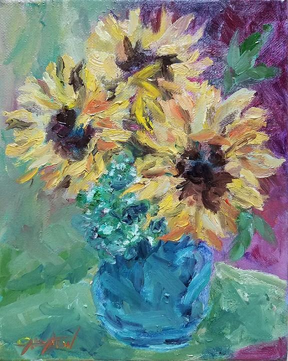 """Sunflowers"" original fine art by Gabriella DeLamater"