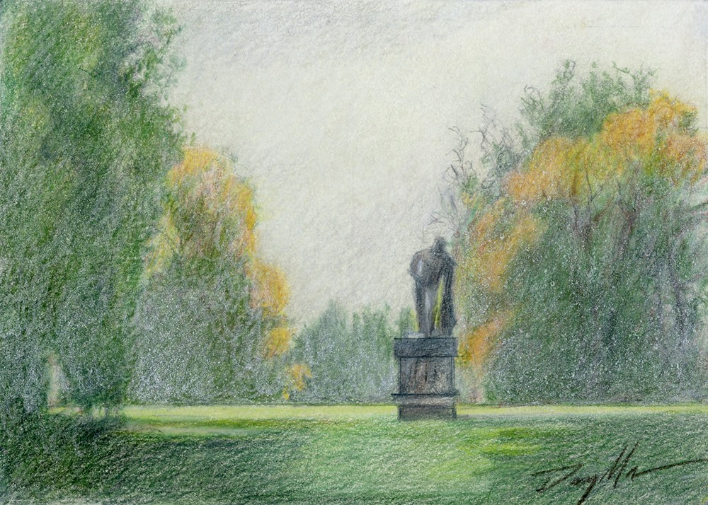 """Hazy Day Statue (pencil sketch)"" original fine art by Mike Daymon"