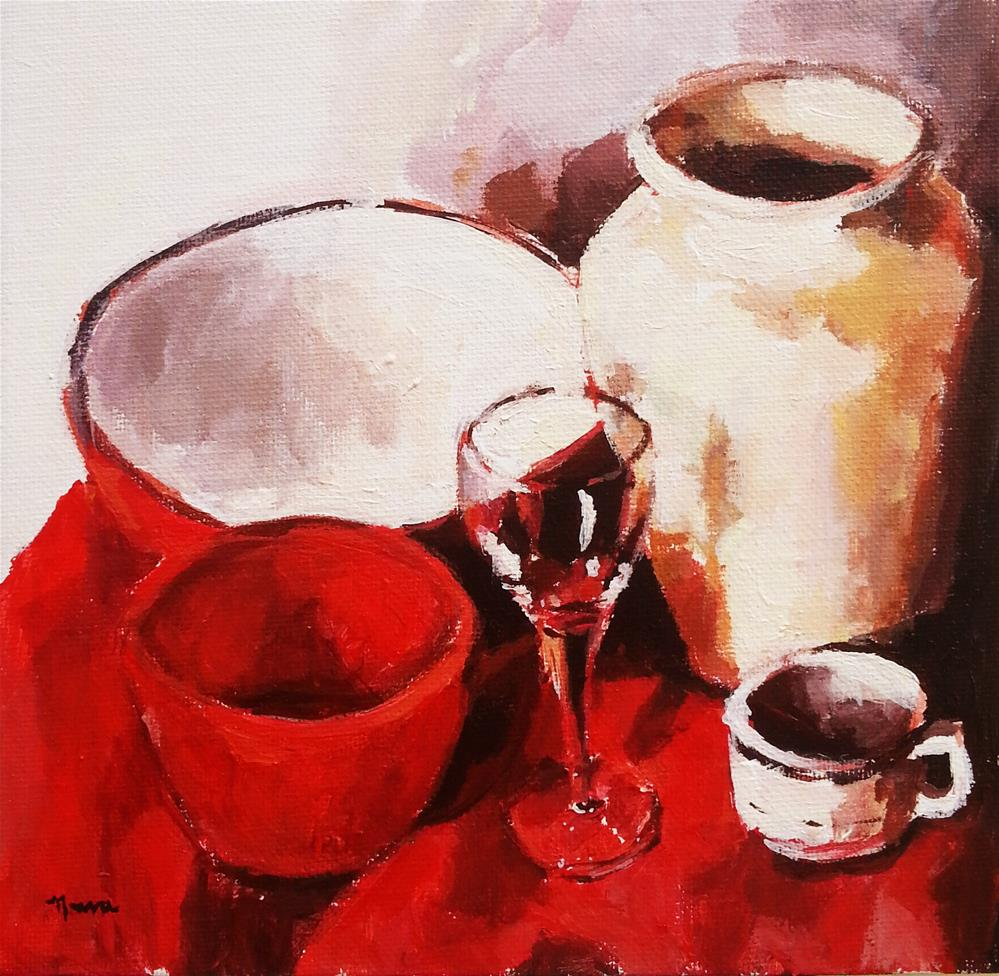 """""""Wine and Coffee in Red"""" original fine art by Nava Judith"""